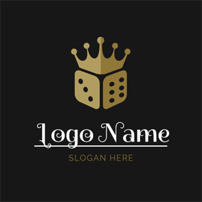 Yellow Crown and Dice logo design