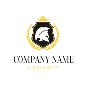 Yellow Crown and Imperatorial Warrior Emblem logo design