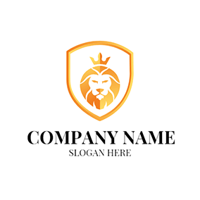 Yellow Crown and Lion Head logo design