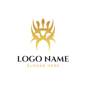 Yellow Crown and Special Tribal Totem logo design
