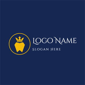 Yellow Crown and Tooth logo design