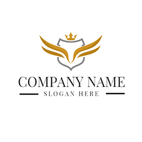 Yellow Crown and Wing logo design