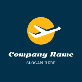 Yellow Earth and Airplane logo design
