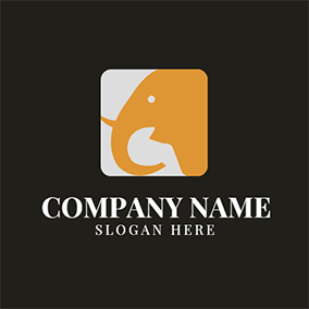 Yellow Elephant Head Icon logo design