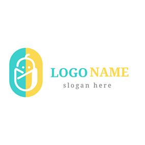 Yellow Ellipse and Lovely Children logo design
