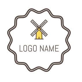 Yellow Encircled Windmill logo design