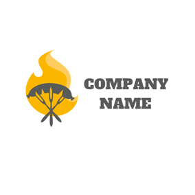 Yellow Fire and Black Fork logo design