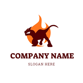 Yellow Fire and Dinosaur logo design