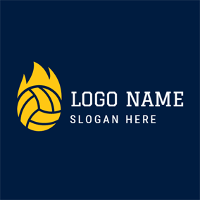 Yellow Fire and Volleyball logo design