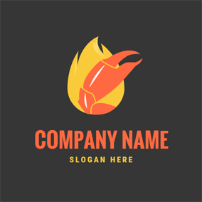 Yellow Flame and Red Crab Pincer logo design