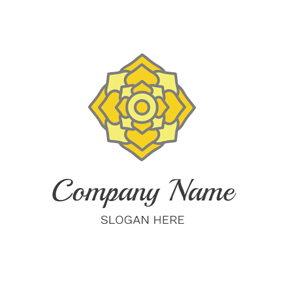 Yellow Flower and Floor Tile logo design