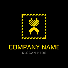 Yellow Frame and Crane logo design