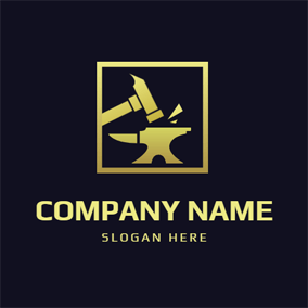 Yellow Frame and Hammer logo design