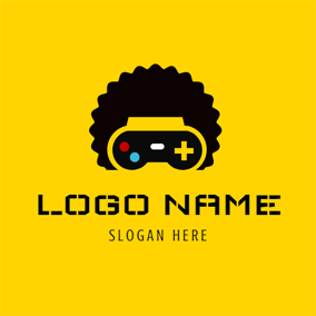 Yellow Gamepad and Black Hair logo design