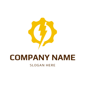 Yellow Gear and Lightning logo design
