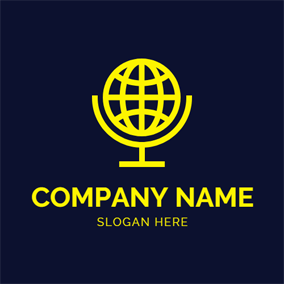 Yellow Globe and Microphone logo design