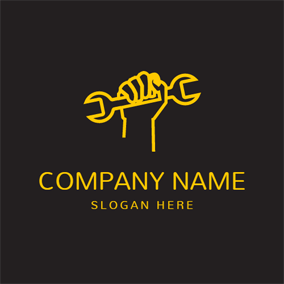 Yellow Hand and Spanner logo design