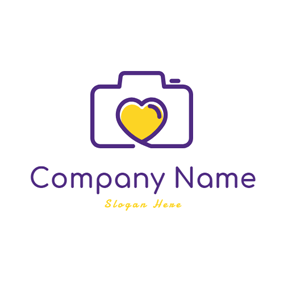 Yellow Heart and Camera logo design