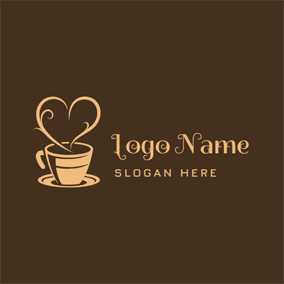 Yellow Heart and Coffee logo design
