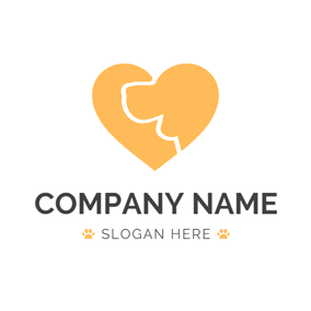 Yellow Heart and Dog Head logo design
