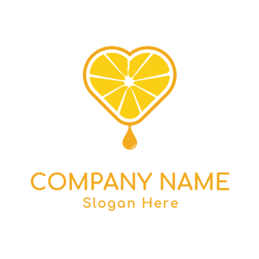 Yellow Heart and Orange logo design