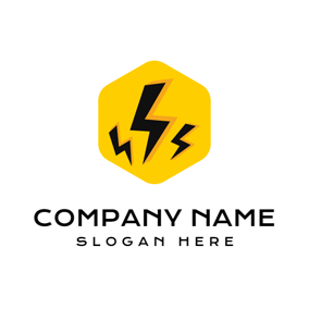 Yellow Hexagon and Black Lightening logo design