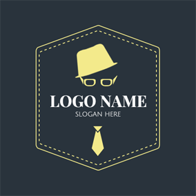 Yellow Hexagon and Hipster Icon logo design