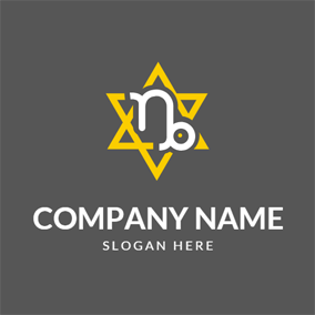 Yellow Hexagram and White Capricorn logo design