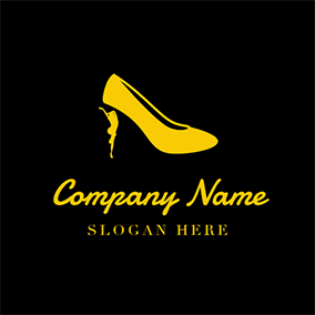 Yellow High Heeled Shoes Icon logo design