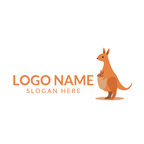 Yellow Kangaroo Baby and Mother logo design