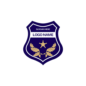 Yellow Leaf and Blue Police Shield logo design