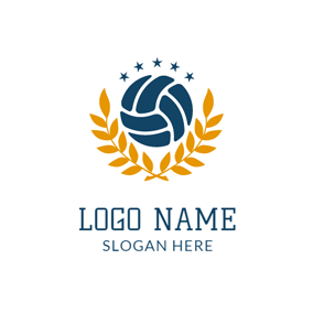 Yellow Leaf and Blue Volleyball logo design