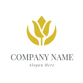 Yellow Leaf and Flower logo design