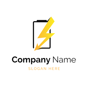 Yellow Lightning and Black Battery logo design