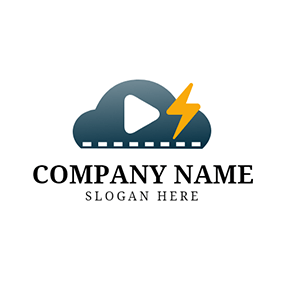 Yellow Lightning and Blue Video logo design