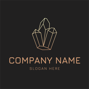 Yellow Line and Abstract Crystal logo design