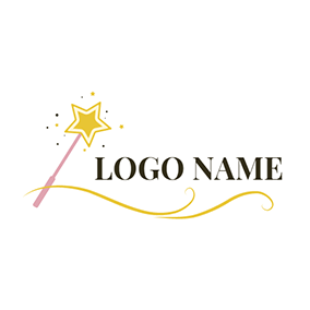 Yellow Line and Magic Stick logo design