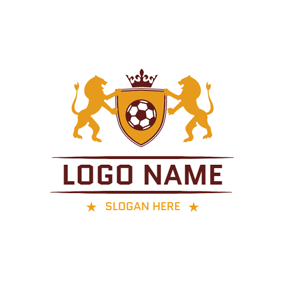 Yellow Lion and Brown Football logo design