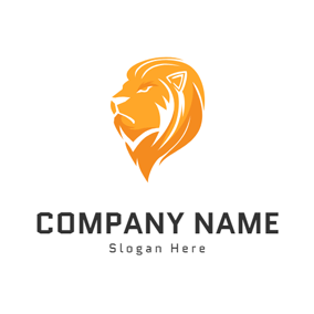 Yellow Lion Head Sketch logo design
