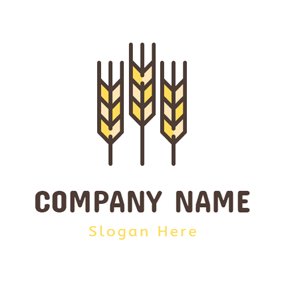 Yellow Mature Wheat logo design