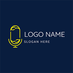 Yellow Microphone and Podcast logo design