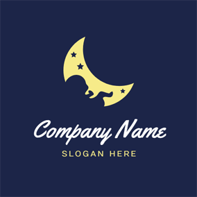 Yellow Moon and Cute Baby logo design