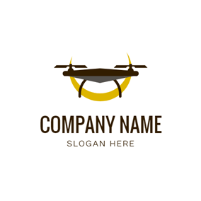 Yellow Moon and Flat Drone logo design