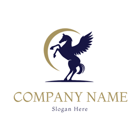 Yellow Moon and Pegasus logo design