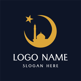 Yellow Moon and Star logo design