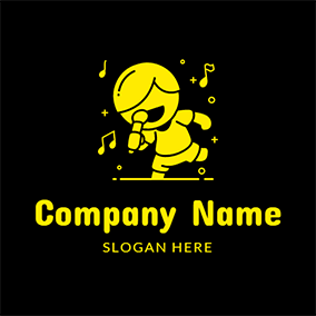 Yellow Note and Male Singer logo design