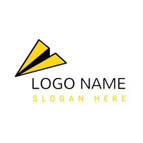 Yellow Paper Airplane and Arrow logo design