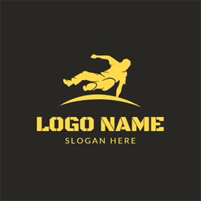 Yellow Parkour Sportsman logo design
