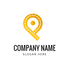 Yellow Path and Location logo design