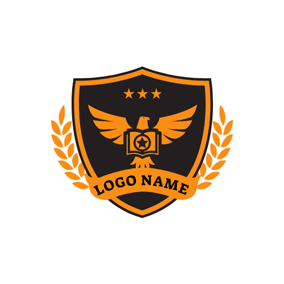 Yellow Pigeon and Badge logo design